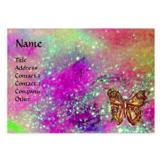 MAGIC BUTTERFLY IN GOLD,BLUE PURPLE TEAL SPARKLES LARGE BUSINESS CARD