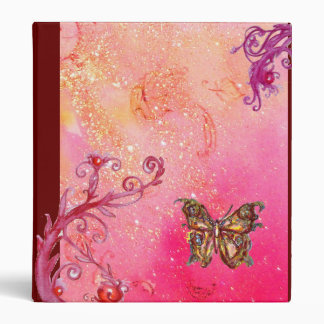 MAGIC BUTTERFLY IN SPARKLES pink red purple violet Binder
