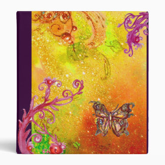 MAGIC BUTTERFLY IN SPARKLES yellow green red brown 3 Ring Binder