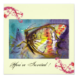 MAGIC BUTTERFLY WITH RED FLORAL SWIRLS ,blue cream Card