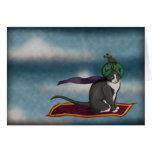 Magic Carpet Cat, greeting card