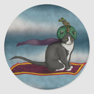 Magic Carpet Cat, sticker Round Sticker
