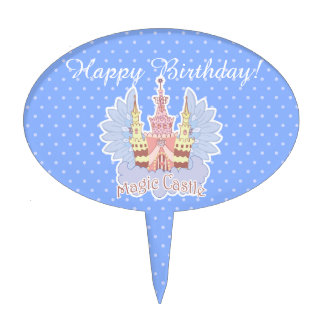 Magic Castle with wings cartoon illustration Cake Topper