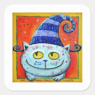 Magic Cat With Fairy Hat Square Sticker