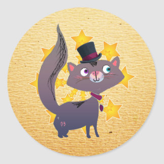 Magic Cat with Top Hat Classic Round Sticker