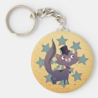 Magic Cat with Top Hat Keychain