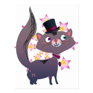 Magic Cat with Top Hat Post Card