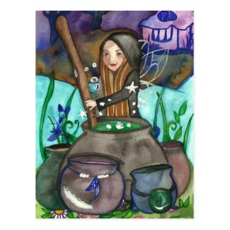 Magic Cauldron Fairy Witch Fantasy Tarot Postcard