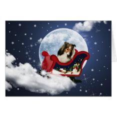 Magic Christmas Sheltie Card at Zazzle