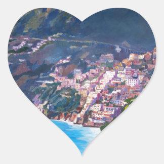 Magic Coastline and Scenery in Amalfi, Italia Heart Sticker