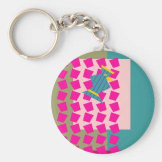 Magic Curtain Bird Basic Round Button Keychain