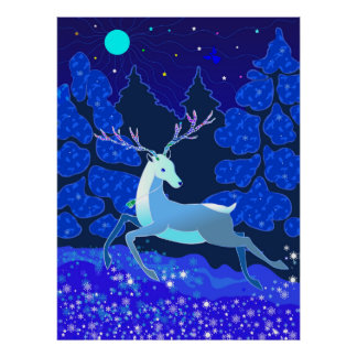 Magic Cute Christmas Deer with bell Poster