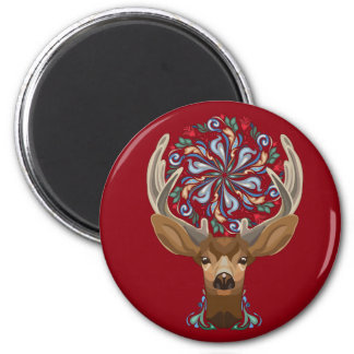 Magic Cute Forest Deer with flourish spring symbol Magnet