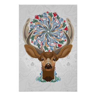 Magic Cute Forest Deer with flourish spring symbol Poster