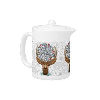 Magic Cute Forest Deer with flourish spring symbol Teapot