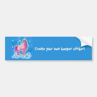 Magic Cute Pink Unicorn with wings Bumper Sticker