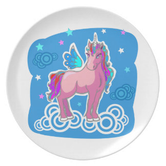 Magic Cute Pink Unicorn with wings Dinner Plate