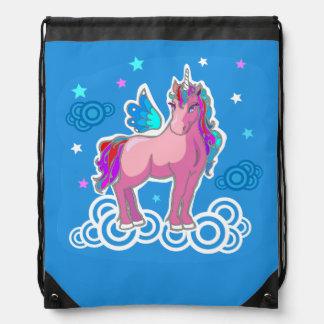 Magic Cute Pink Unicorn with wings Drawstring Bag