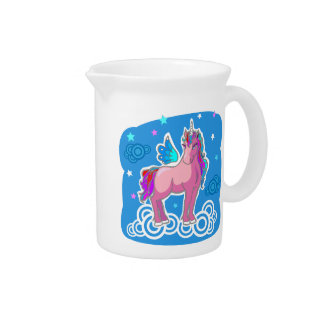 Magic Cute Pink Unicorn with wings Drink Pitcher