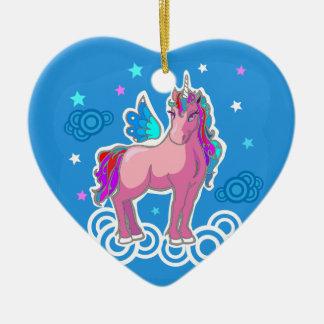 Magic Cute Pink Unicorn with wings illustration Ceramic Ornament