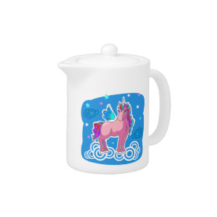 Magic Cute Pink Unicorn With Wings Teapot at Zazzle