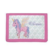 Magic Cute Unicorn with rainbow wings illustration Tri-fold Wallet
