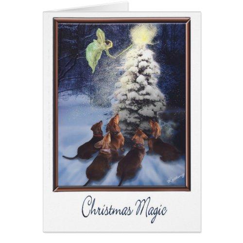 Magic Dachshund Christmas Greeting Card