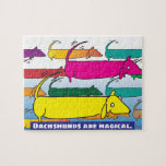 """Magic Dachshunds Jigsaw Puzzle<br><div class=""""desc"""">Illustration showing what Dachshunds do when we&#39;re not looking.</div>"""