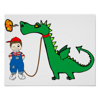 Magic Dragon And Little Boy Poster
