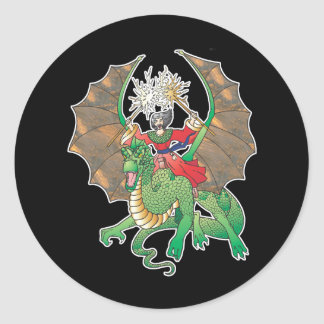 magic dragon sorcerer classic round sticker