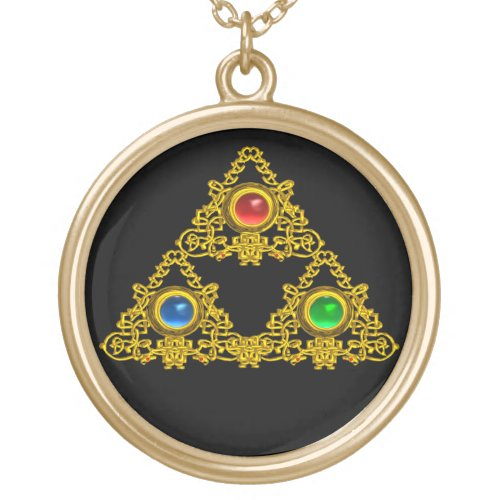 MAGIC ELFIC TALISMAN,BLACK GOLD TRIANGLE,GEMSTONES