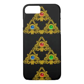 MAGIC ELFIC TALISMAN,BLACK GOLD TRIANGLE,GEMSTONES iPhone 7 CASE