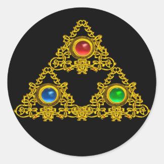 MAGIC ELFIC TALISMAN /GOLD TRIANGLE WITH GEMSTONES CLASSIC ROUND STICKER