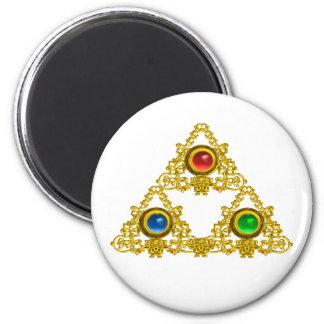 MAGIC ELFIC TALISMAN /GOLD TRIANGLE WITH GEMSTONES REFRIGERATOR MAGNETS