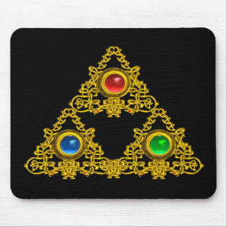 MAGIC ELFIC TALISMAN /GOLD TRIANGLE WITH GEMSTONES MOUSE PAD