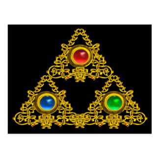 MAGIC ELFIC TALISMAN /GOLD TRIANGLE WITH GEMSTONES POSTCARD