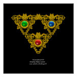 MAGIC ELFIC TALISMAN /GOLD TRIANGLE WITH GEMSTONES POSTER