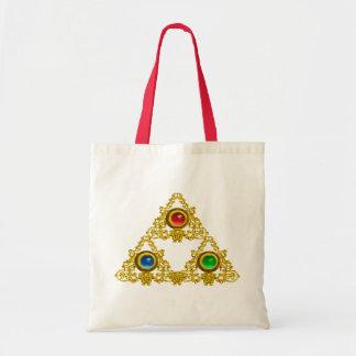 MAGIC ELFIC TALISMAN /GOLD TRIANGLE WITH GEMSTONES TOTE BAG