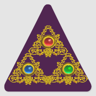 MAGIC ELFIC TALISMAN /GOLD TRIANGLE WITH GEMSTONES TRIANGLE STICKER