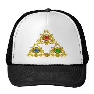 MAGIC ELFIC TALISMAN /GOLD TRIANGLE WITH GEMSTONES TRUCKER HAT