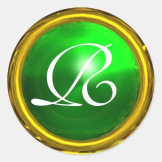 MAGIC EMERALD MONOGRAM bright vibrant green Sticker