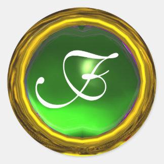 MAGIC EMERALD MONOGRAM bright vibrant green yellow Sticker