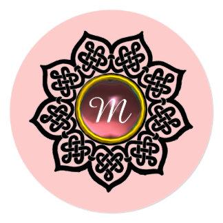 MAGIC EVENT/ CELTIC KNOTS, PINK GEMSTONE MONOGRAM CARD