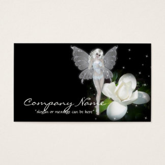 Magic Fairy w White Flower Fantasy Business Cards