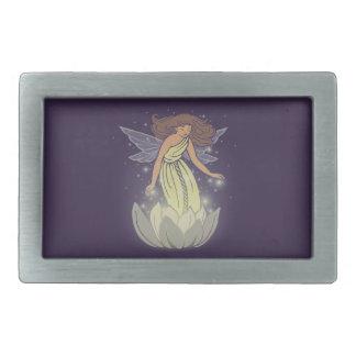 Magic Fairy White Flower Glow Fantasy Art Belt Buckle