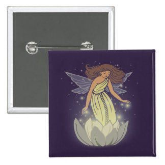 Magic Fairy White Flower Glow Fantasy Art 2 Inch Square Button