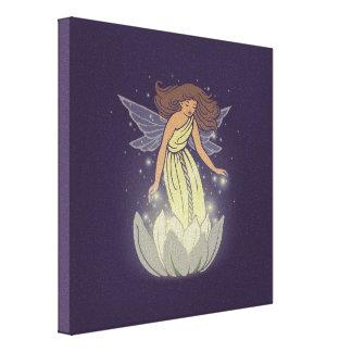 Magic Fairy White Flower Glow Fantasy Art Canvas Print