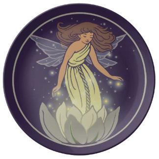 Magic Fairy White Flower Glow Fantasy Art Dinner Plate