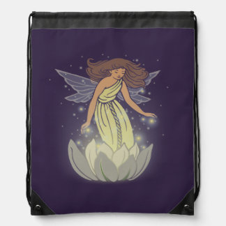 Magic Fairy White Flower Glow Fantasy Art Drawstring Bag