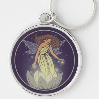 Magic Fairy White Flower Glow Fantasy Art Silver-Colored Round Keychain